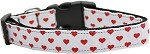 White and Red Dotty Hearts Nylon Dog Collars Medium